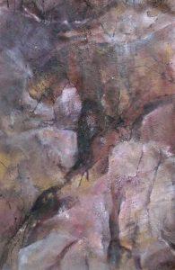 suzette-kunst.nl, rotskloof, acryl op papier op paneel, 50 x 80