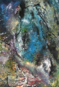 suzette-kunst.nl, rotswand, mixed media op papier, 30 x 45