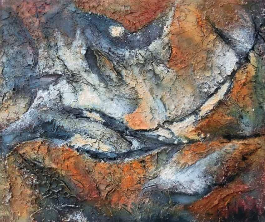 suzette-kunst.nl, rotswand 2, acryl op doek, 50 x 60