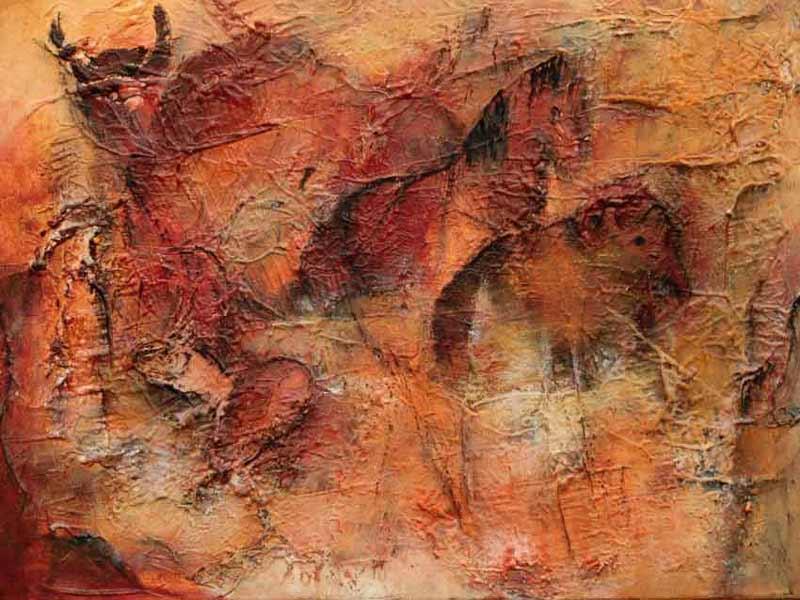suzette-kunst.nl, cave art, mixed media op doek, 40 x 50