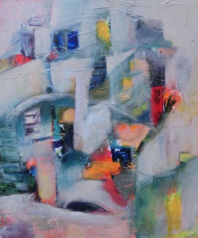 suzette-kunst.nl, grieks dorpje, acryl op doek, 50 x 60