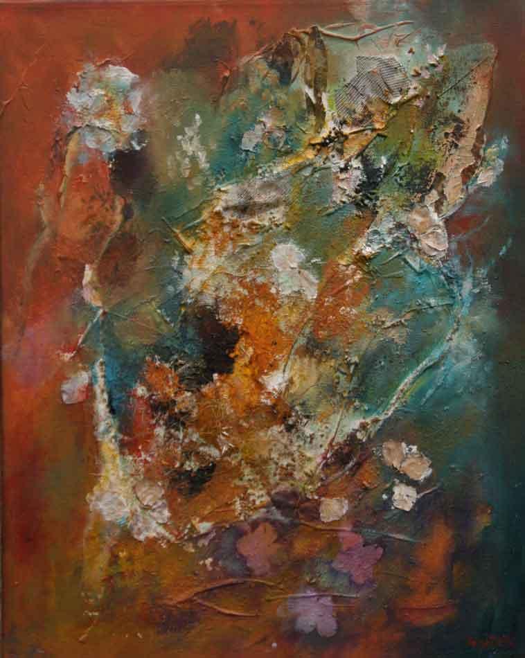 suzette-kunst.nl, bloemig, mixed media op doek, 40 x 50