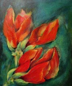 suzette-kunst.nl, amaryllis, olie op doek, 50 x 60