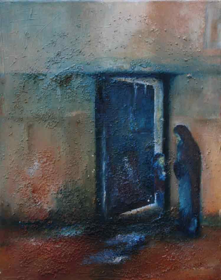 suzette-kunst.nl, aan de poort, olie op doek, 40 x 50