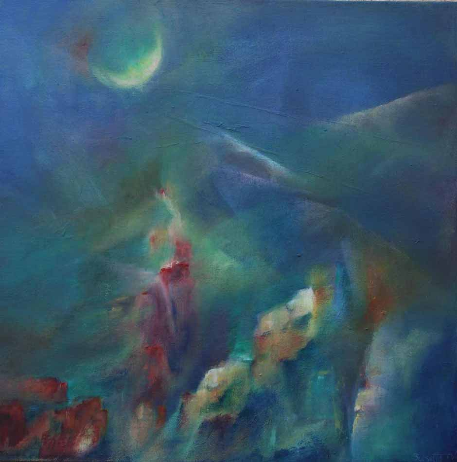 suzette-kunst.nl, nacht in de bergen, olie op doek, 50 x 50,