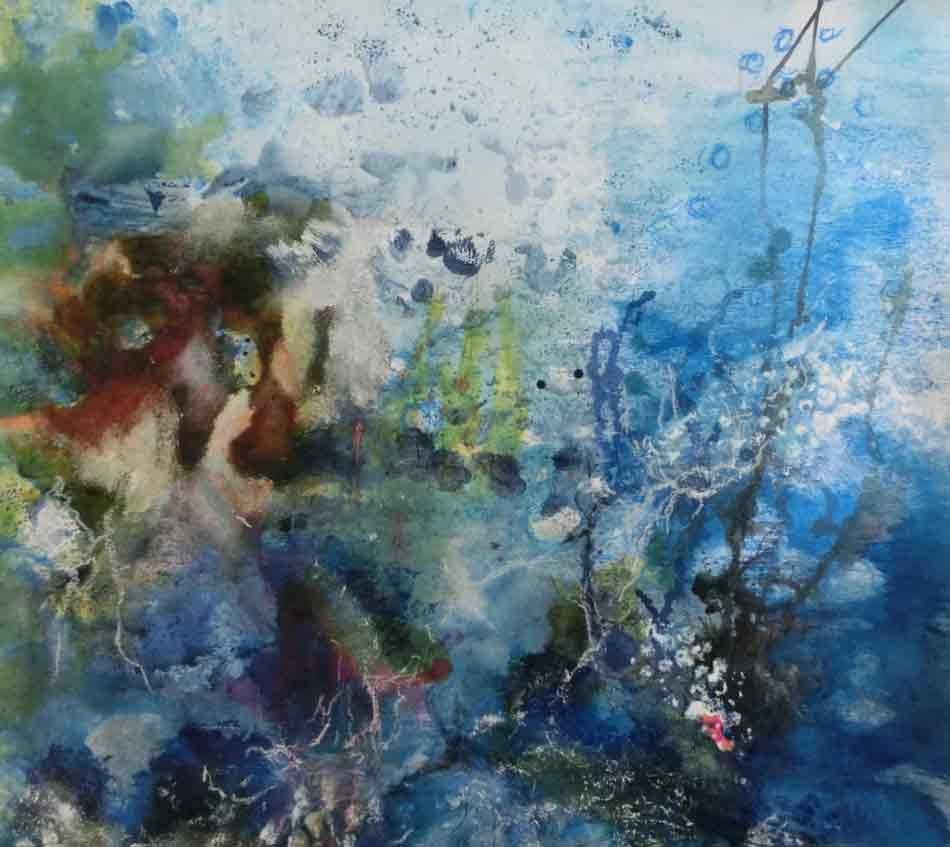 suzette-kunst.nl, onderwaterwereld, acryl op papier, 50 x 50