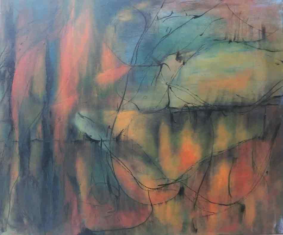 suzette-kunst.nl, avondstemming, water,, olie op doek, 50 x 60