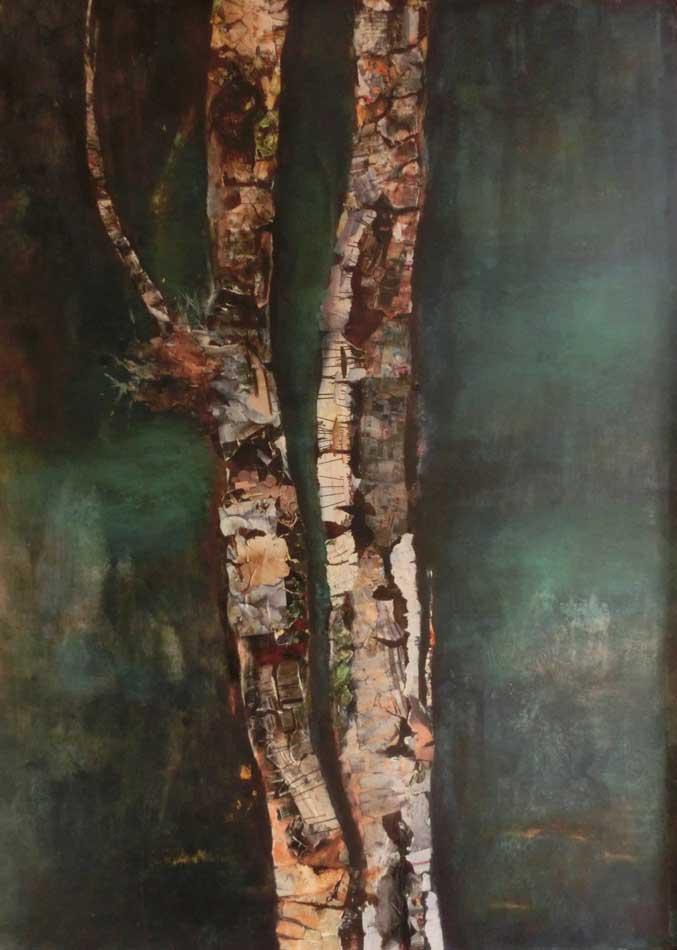 suzette-kunst.nl, berk, collage en acryl op paneel, 105 x 75