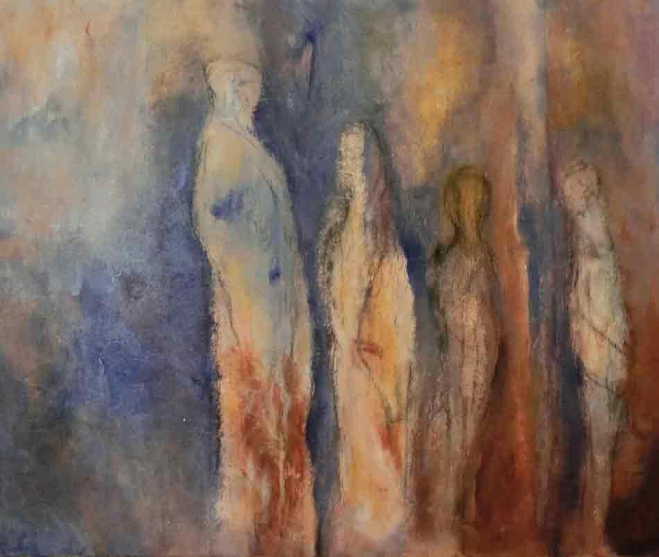 suzette-kunst.nl, de wachtenden, pigment met gesso op doek, 50 x 60