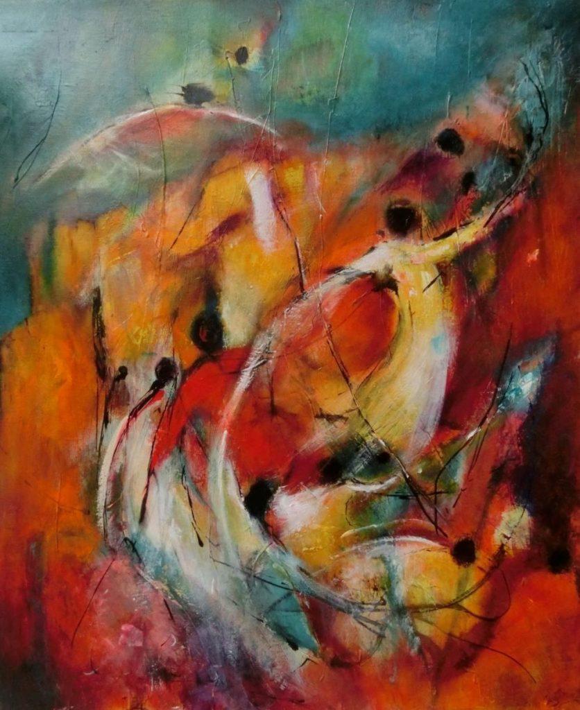 suzette-kunst.nl, derwisjen, leading the way, acryl op doek, 50 x 60