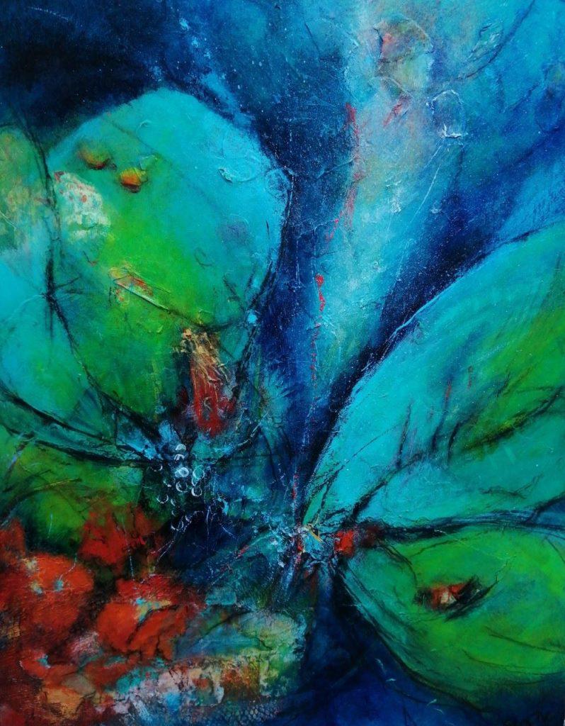 suzette-kunst, ontwaken, acryl op board, 40 x 50