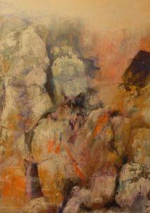 suzette-kunst.nl, rotsen 1, acryl op papier, 63 x 43