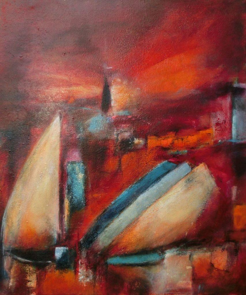 suzette-kunst.nl, haven, acryl op doek,, 50 x 60