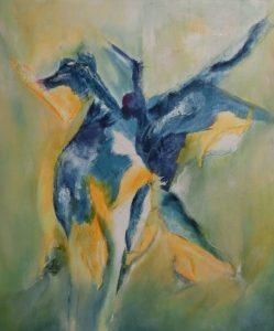 suzette-kunst.nl, St. Joris en de draak, gouache op doek, 50 x 60