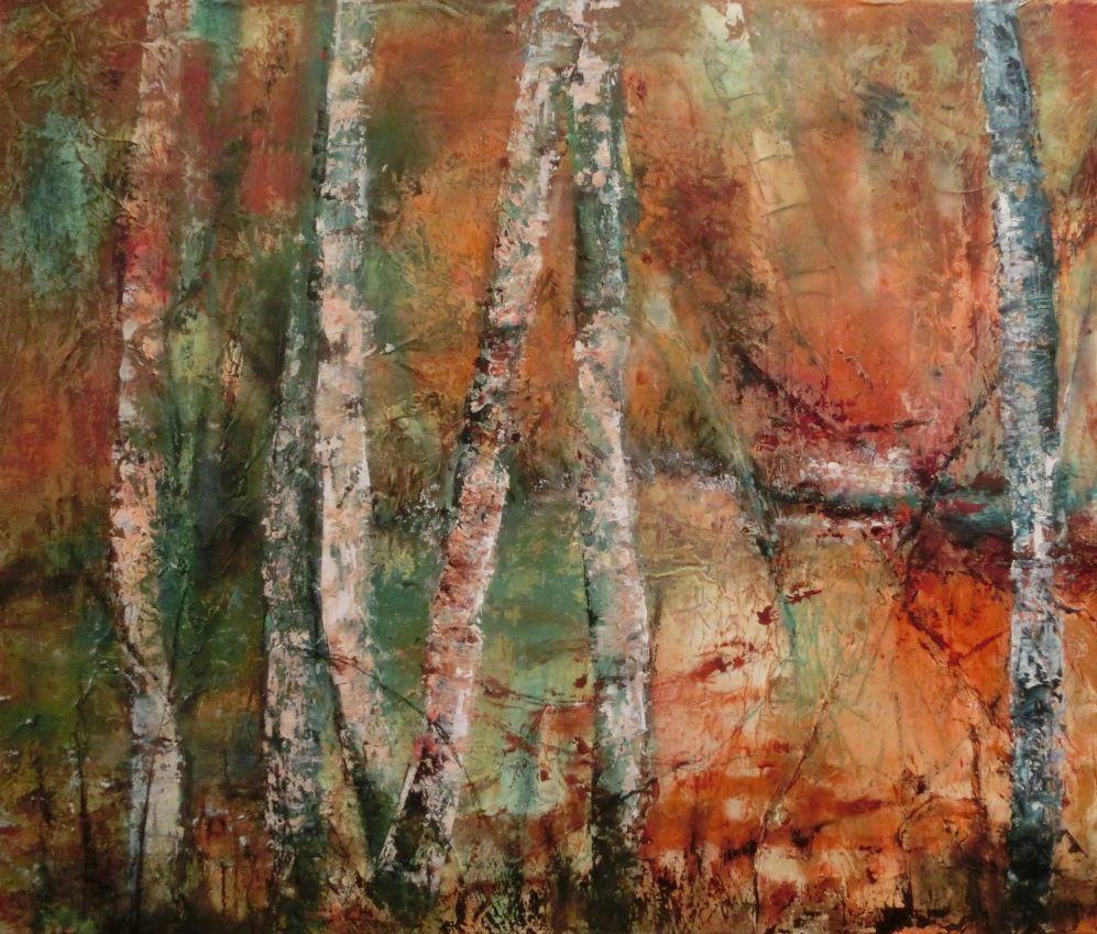 suzette-kunst.nl, berkenbos bij water, olie op doek, 50 x 60