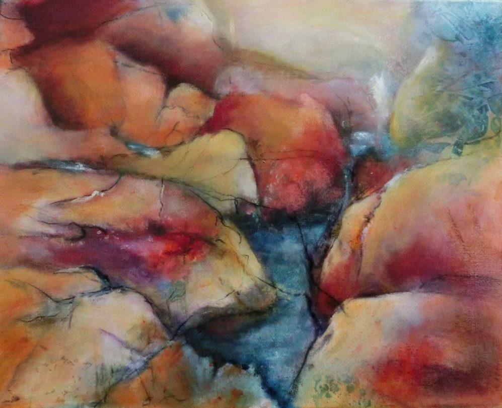 suzette-kunst.nl, hidden streams, acryl op doek, 40 x 50