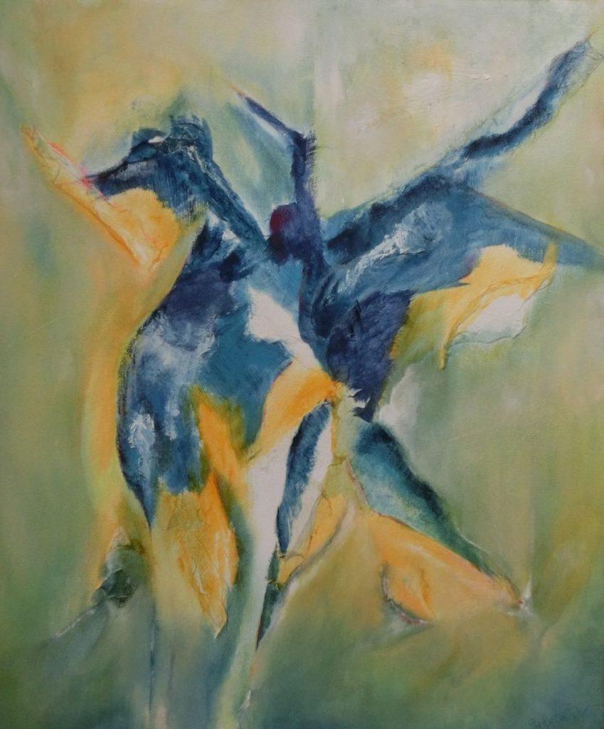 St Joris en de draak, gouache op doek, 50 x 70